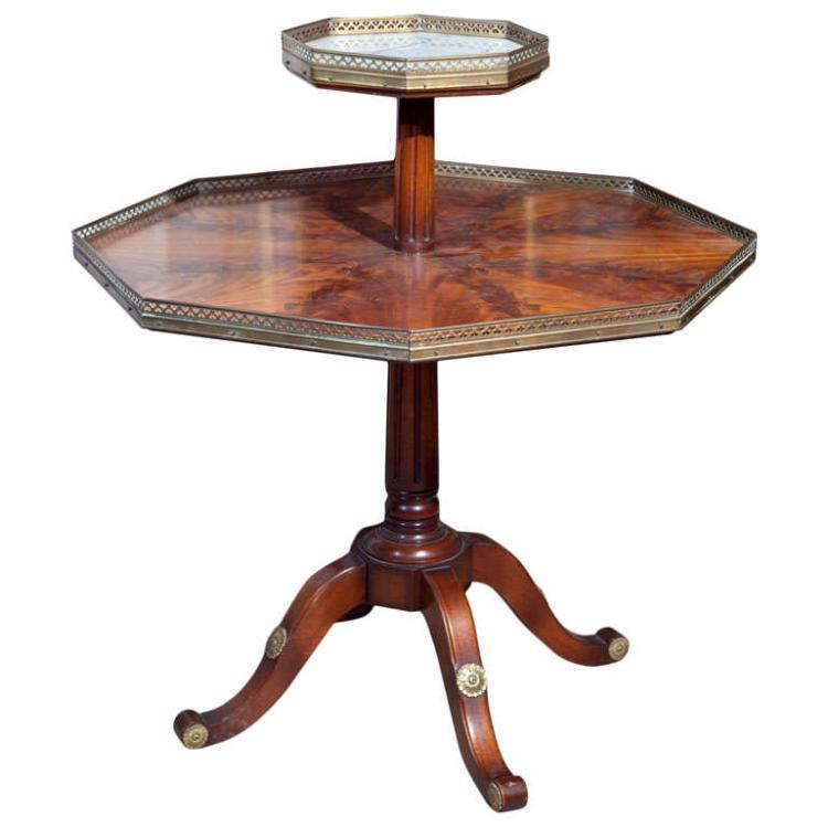 Jansen Mahogany Octagonal Two Tier Table
