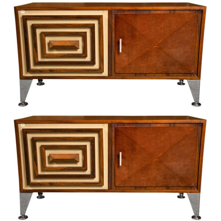 Pair of Decorator Mid Century Modern Credenzas - Commodes