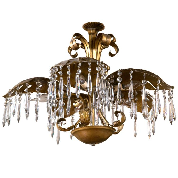 Brass Five-Light Palm Leaf Chandelier