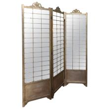 Hollywood Regency Mirror and Silver Gilt Screen or Room Divider