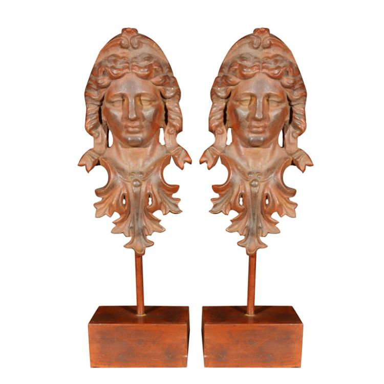 Pair of Iron Head Sculptures