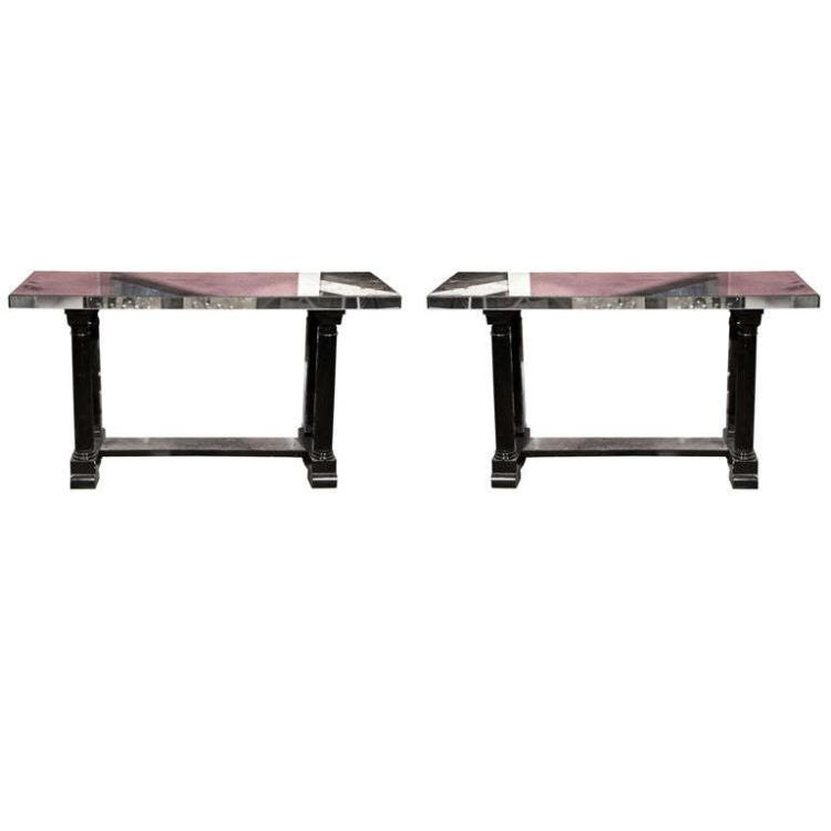 Pair of Art Deco Style Mirrored Console Tables