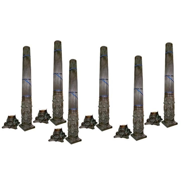 Six Monumental Carved Corinthian Column