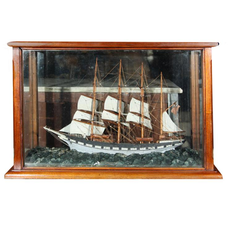 Four Mast Sailing Schooner model in Mahogany Case