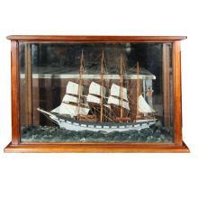 Four Mast Sailing Schooner model in Mahogany Case