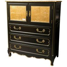 French Louis XV Style Ebonized Cabinet on Chest