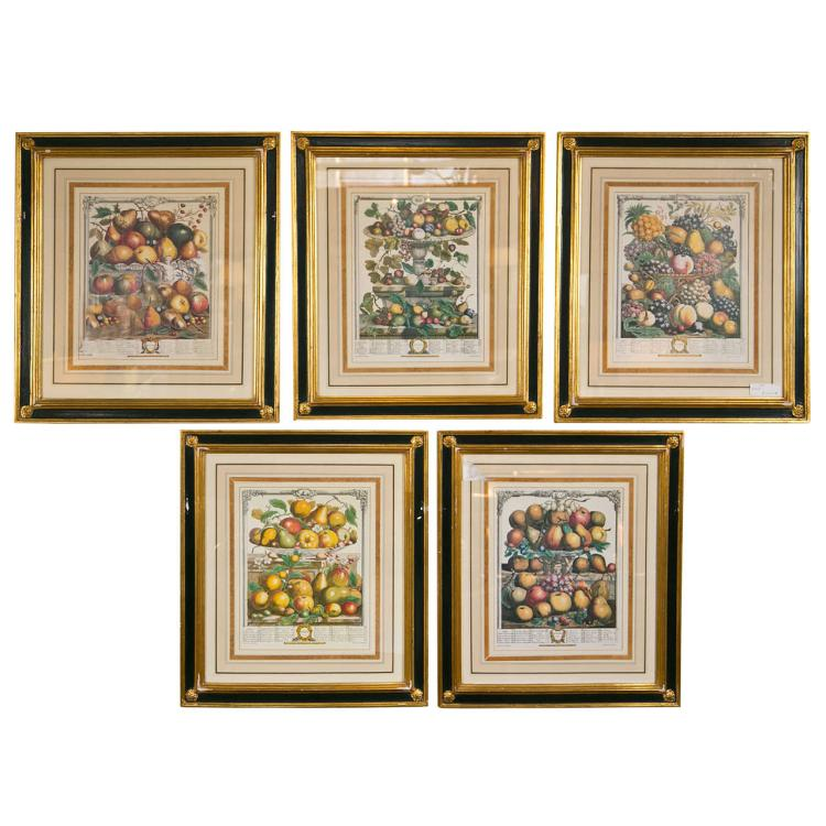 Set of 5 Framed Prints of Fruit