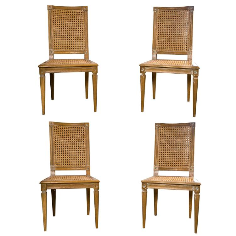 Set of 4 French Caned Side Chairs Italian