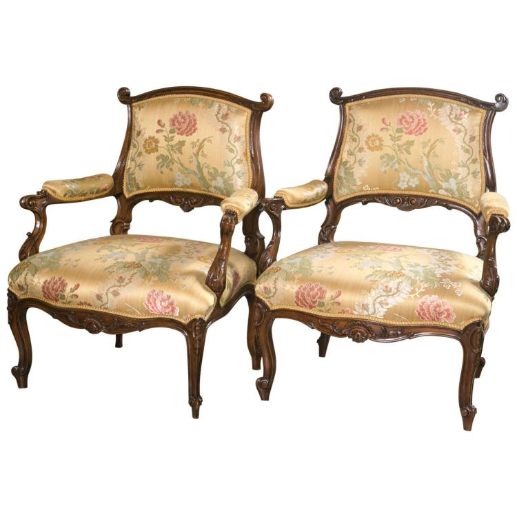 Pair of French Rococo Louis XV Style Armchairs