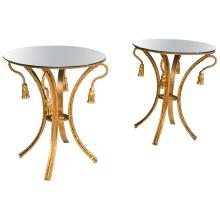 Pair of Tassel Form Mirror Top End Tables