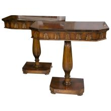 Pair of Walnut Pedestal Console Tables