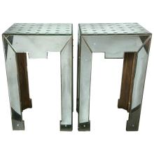 Pair of Bullseye Decorated Art Deco Mirrored Lamp/Side Tables