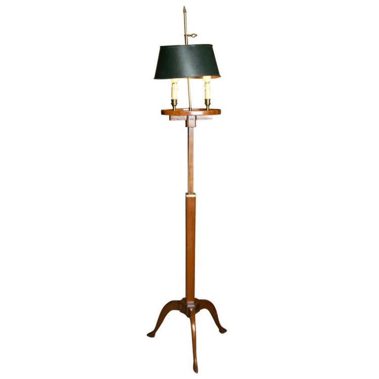 Mahogany Bouillotte Floor Lamp Stamped Jansen