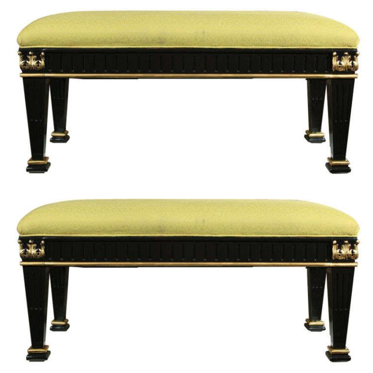 Pair of French Ebonized Benches