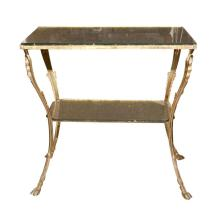 Glass Top Two-tiered Bronze Stand