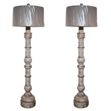 Pair of Painted Baluster Form Floor Lamps