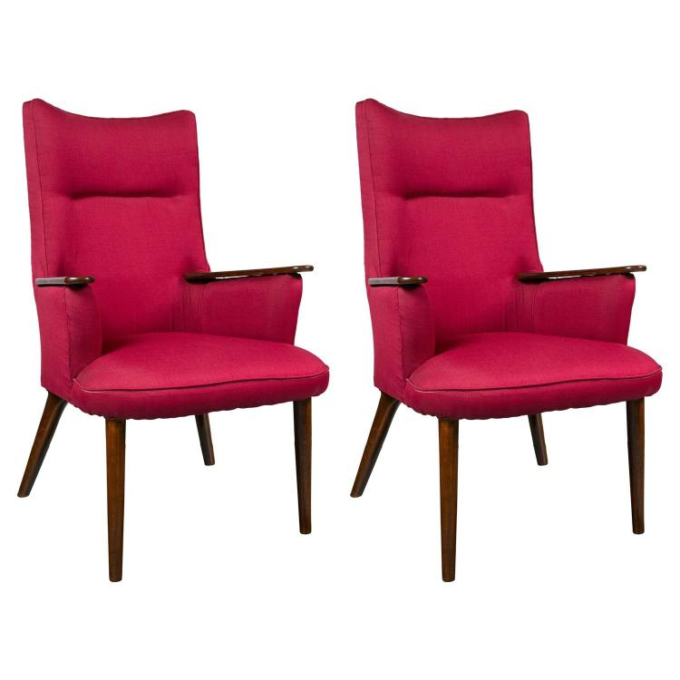 Pair of High Back Mid-Century Modern Rosewood Armchairs