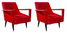 Pair of Art Deco Ebonized Arm Lounge Chairs