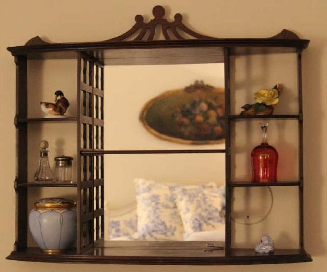 Antique Mahogany Mirrored Wall Display Curio Shelf