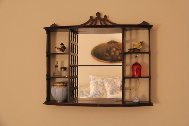 Antique Mahogany Mirrored Wall Display Curio Shelf