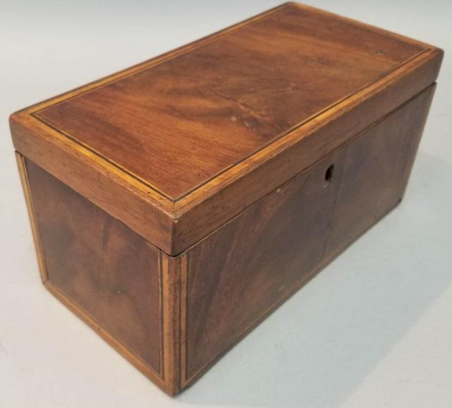 Antique 19th C Burl Wood Inlay English Tea Caddy