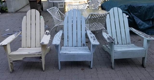 3 wood adirondack style outdoor patio armchairs - Adirondack style bedroom furniture ...