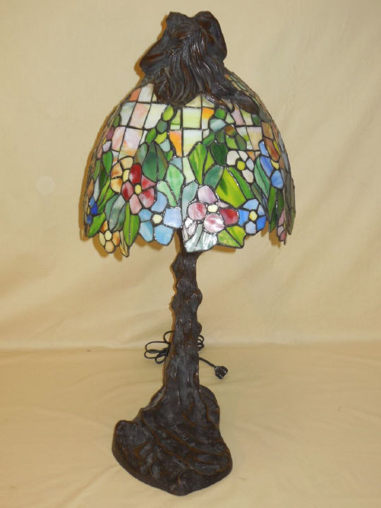 Thomasson Bronze & Stained Glass Art Nouveau Lamp