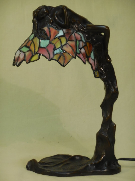 Bronze & Stained Glass Art Nouveau Lamp