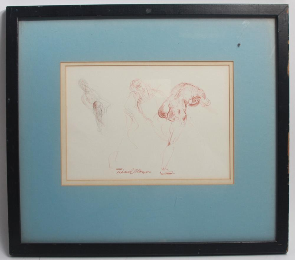 Frank Mason - Signed Nude Crayon Drawing