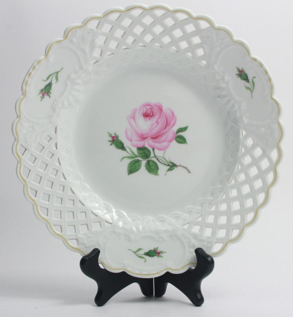 Meissen Reticulated Porcelain Rose Motif Dish
