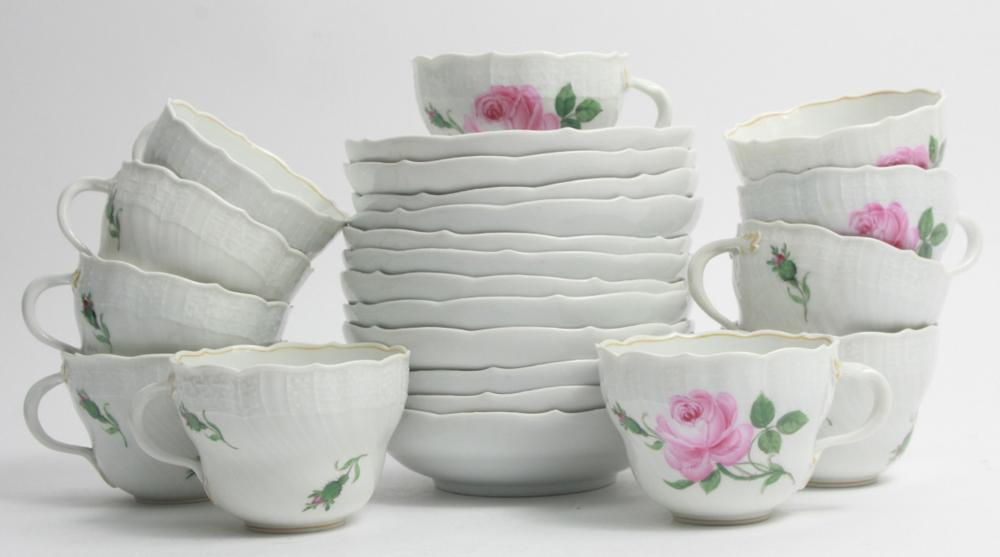 Meissen Rose Motif Porcelain Cups & Saucers