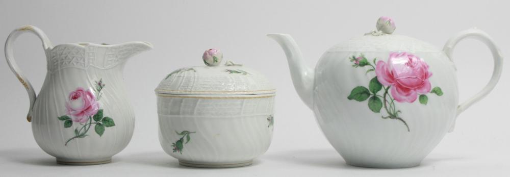 Meissen Rose Motif Porcelain Tea Set