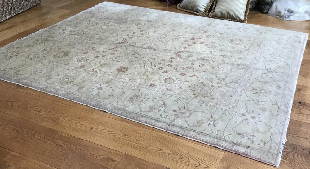 Signed Persian Hand Knotted Wool & Silk Carpet