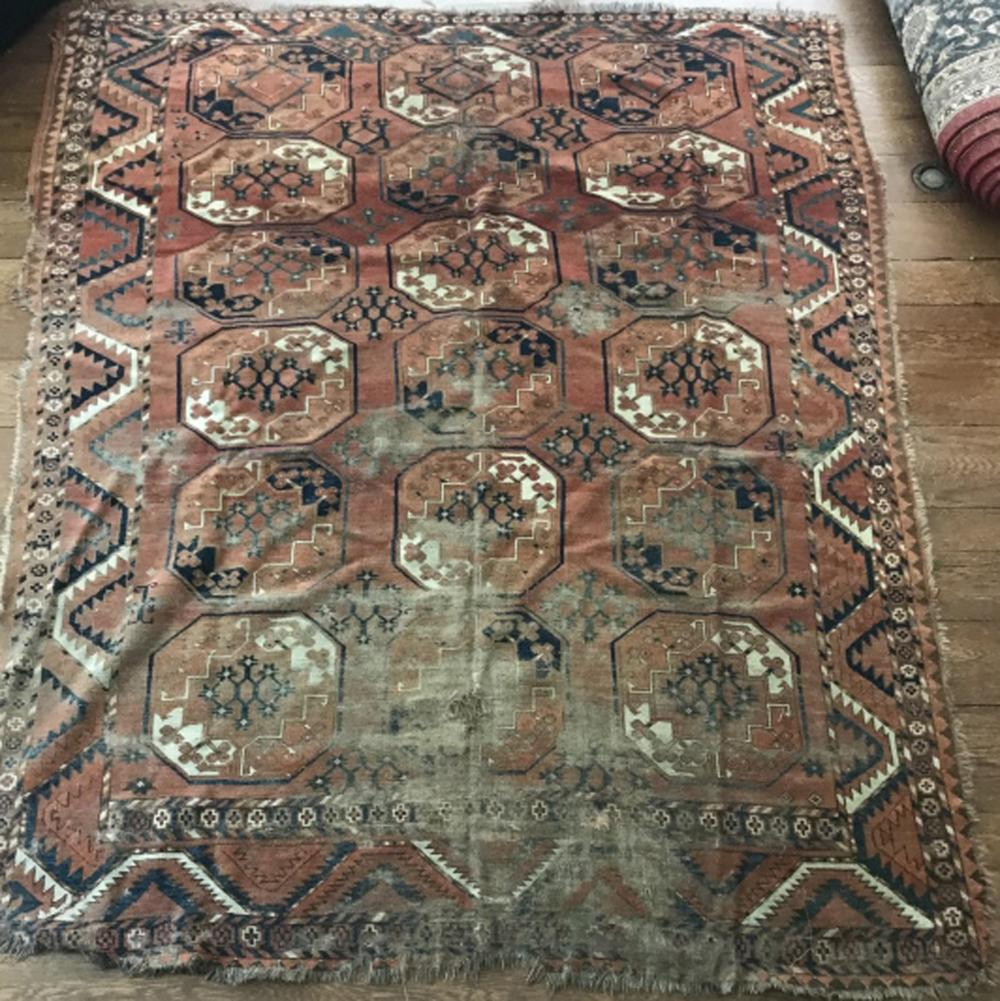 Antique 19th C Hand Knotted Persian Wool Carpet