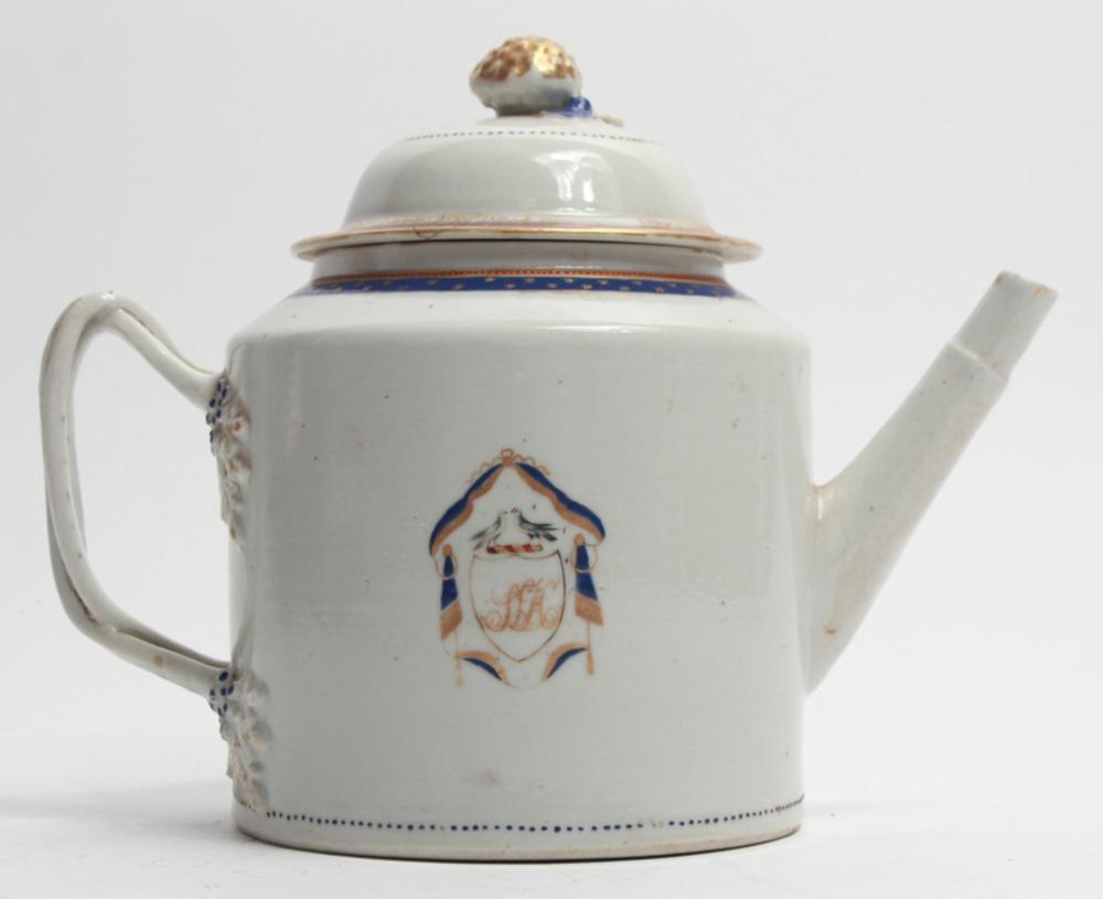 Antique 18th C Chinese Export Armorial Teapot