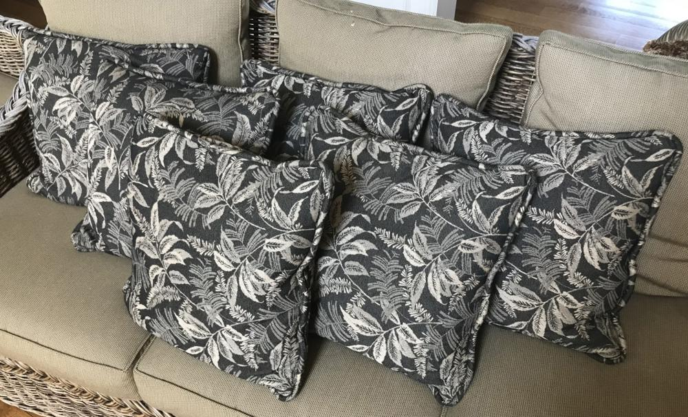 Set of Six Contemporary Leaf Pattern Throw Pillows