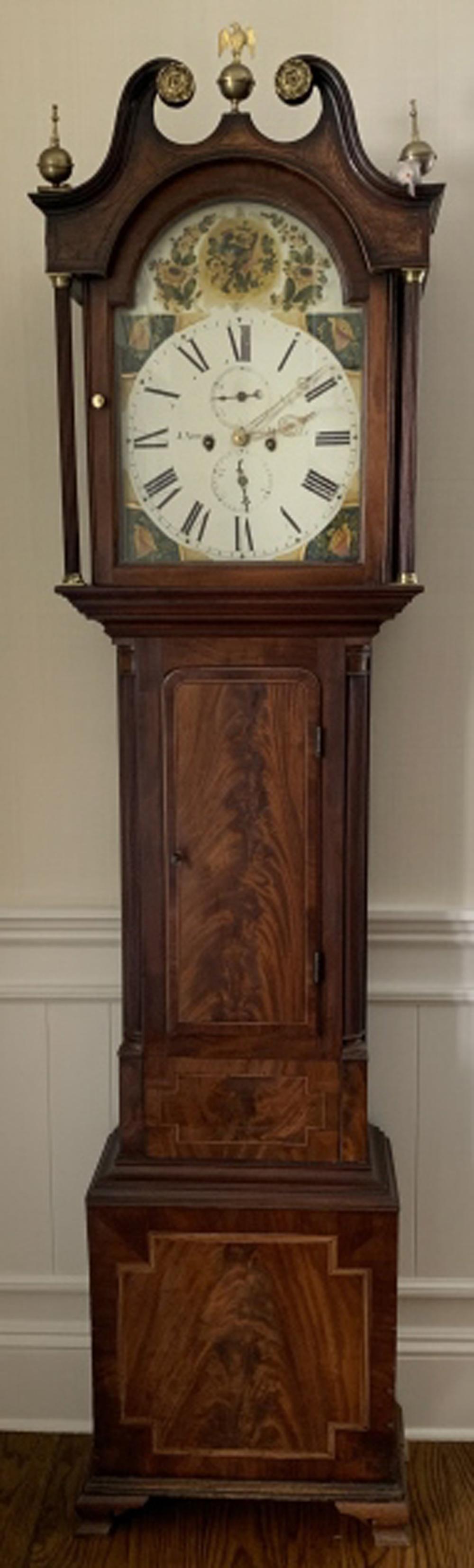 Antique J. Young English Mahogany Tall Case Clock