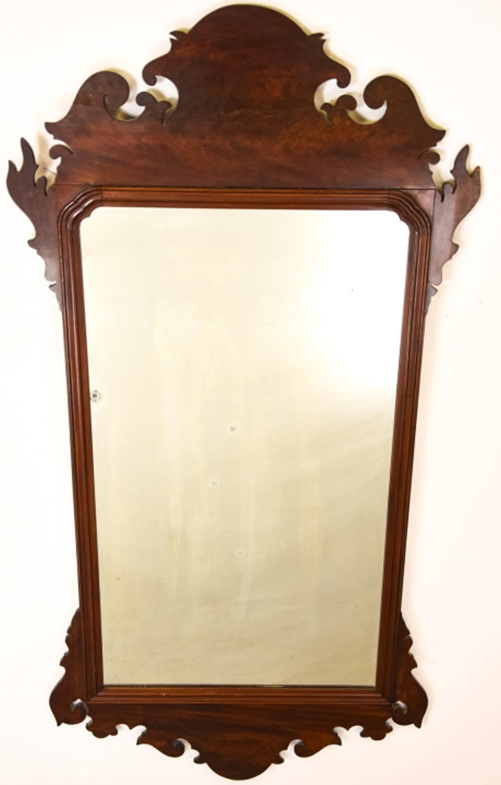 Antique Crotch Mahogany Chippendale Mirror