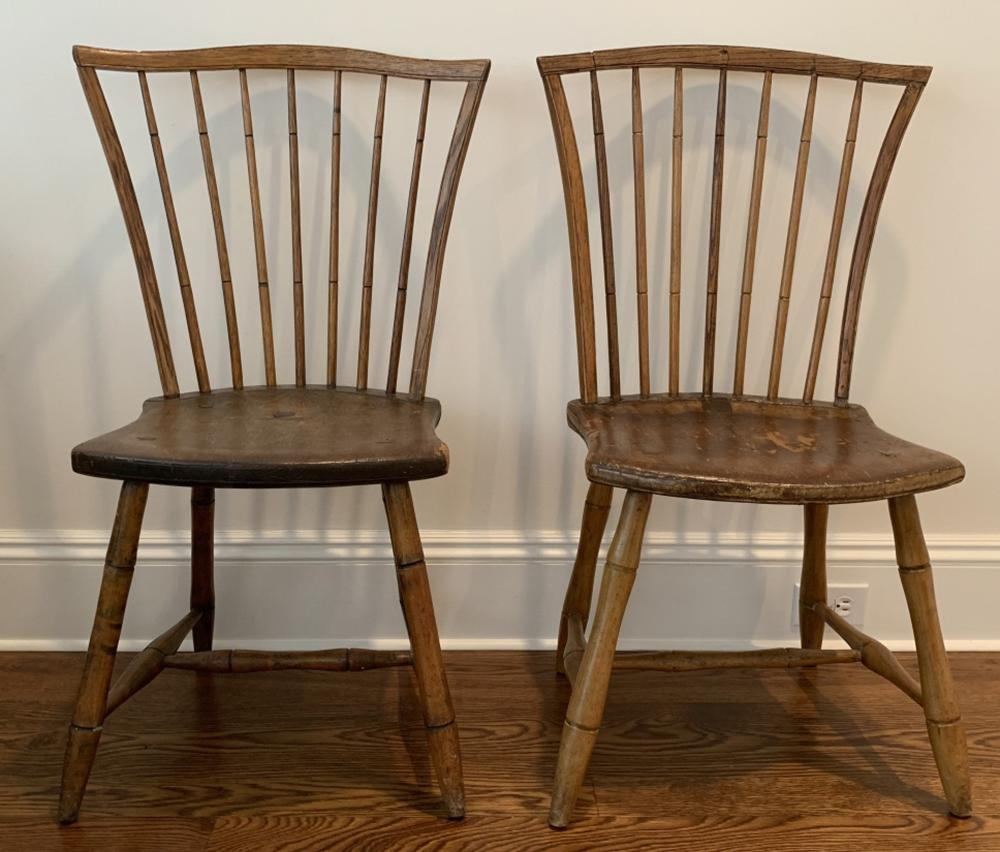 2 Antique 19th C Windsor Spindle Side Chairs