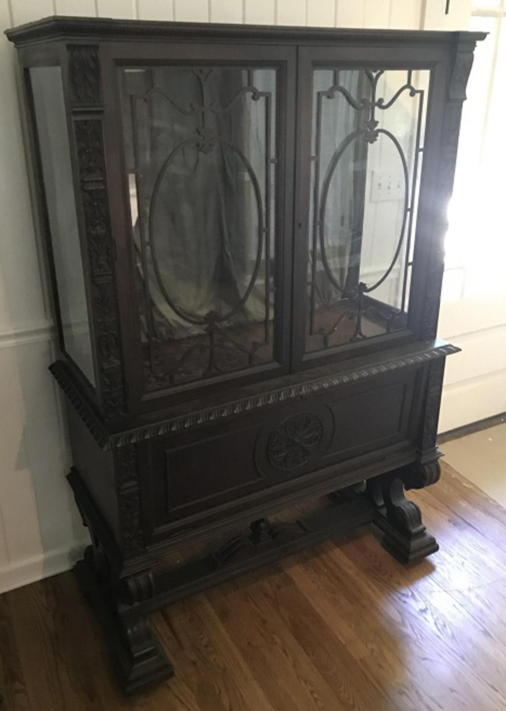 Antique C 1900 Renaissance Revival Curio Cabinet