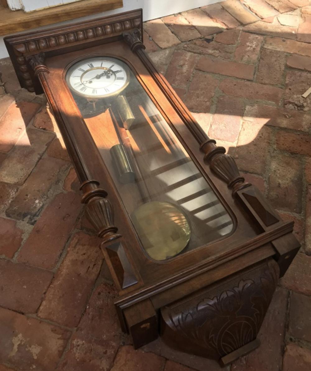 Antique Mahogany Wall Clock w Enamel Face