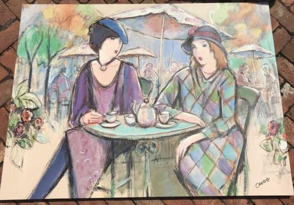 Signed Contemporary Painting French Bistro Scene
