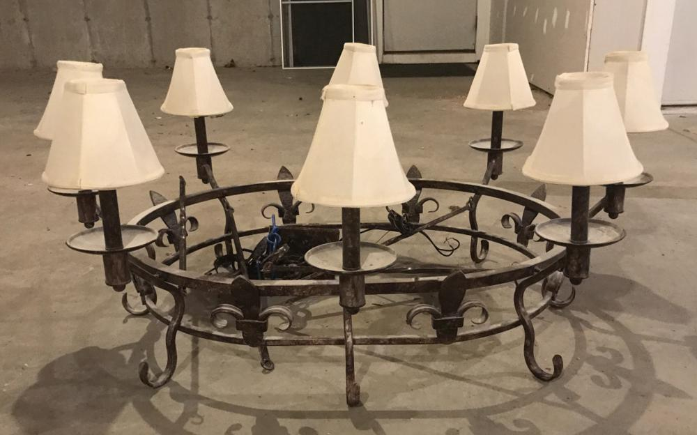 French Country Style Fleur de Lis Iron Chandelier
