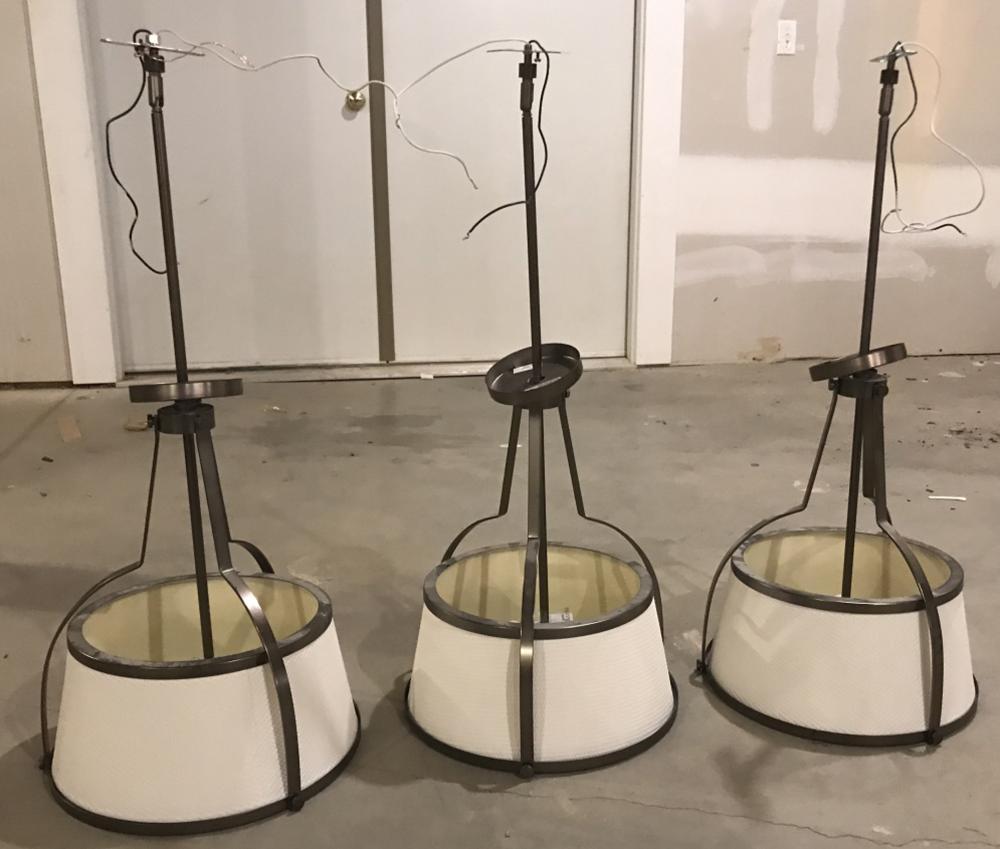 Three Contemporary Modern Pendant Chandeliers