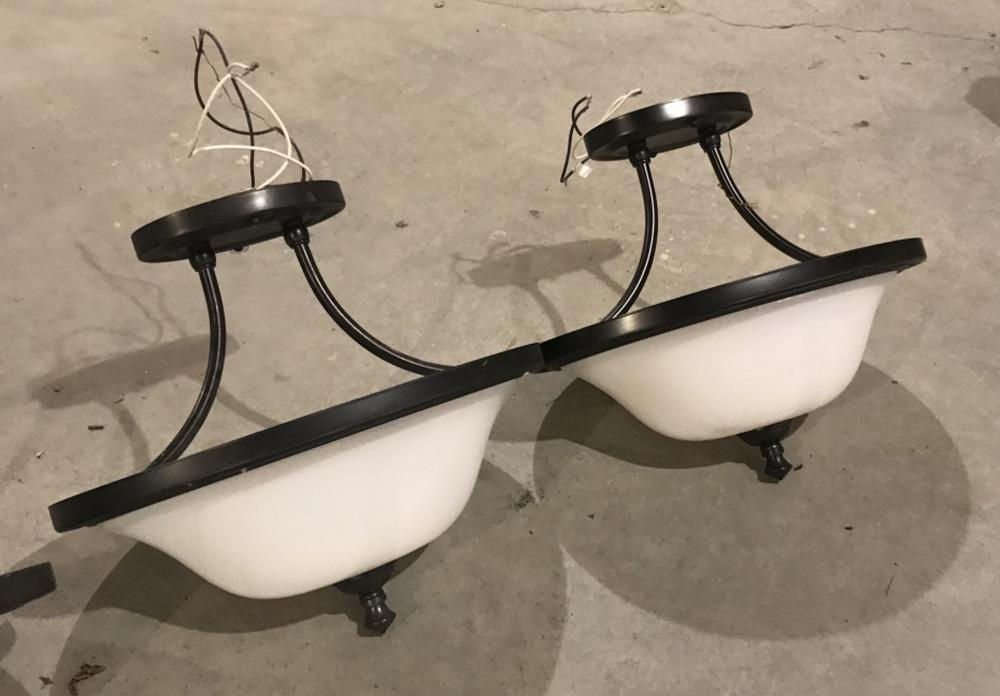 Pair of White Glass Dome Modern Chandeliers