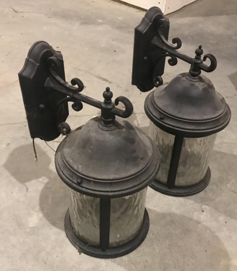 Pair of Bubble Glass Outdoor Wall Lantern Sconces