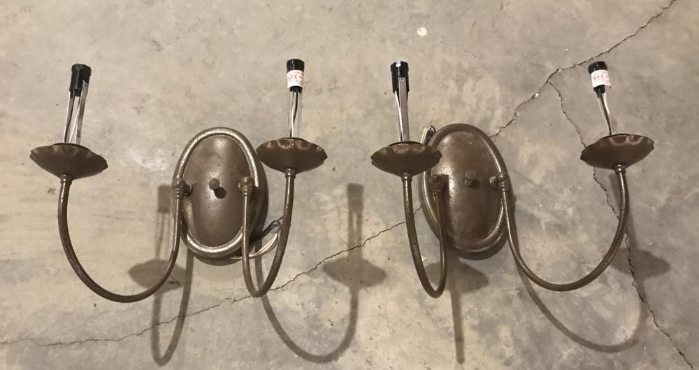Pair of Contemporary Two Arm Wall Sconces