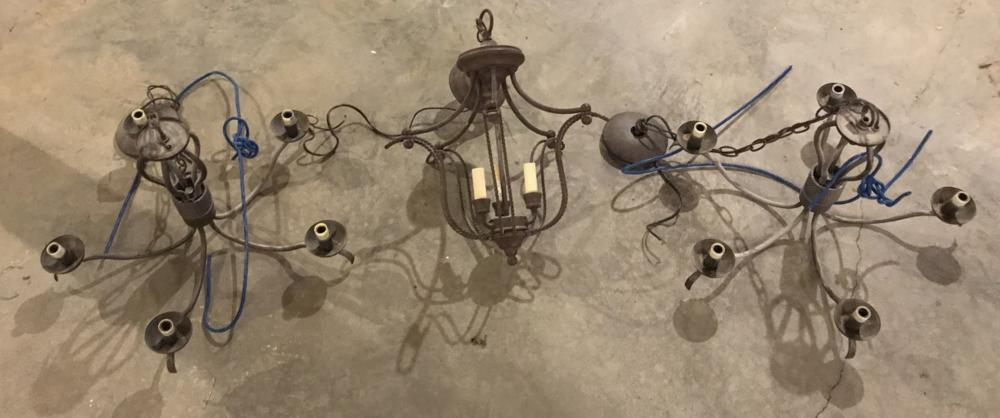 Group of Three French Country Style Chandeliers