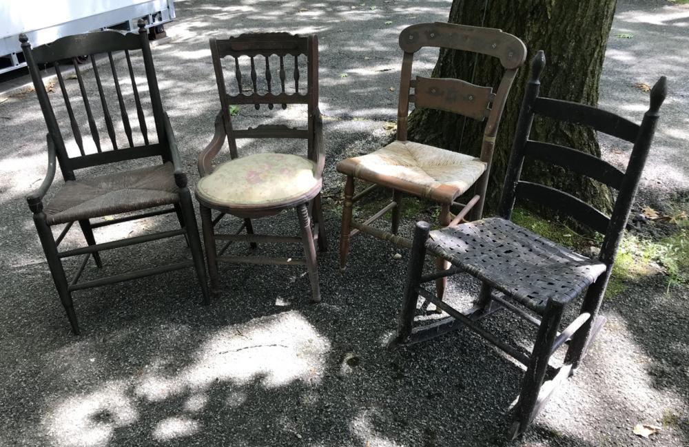 Three Antique 19th C American Side Chairs & Rocker