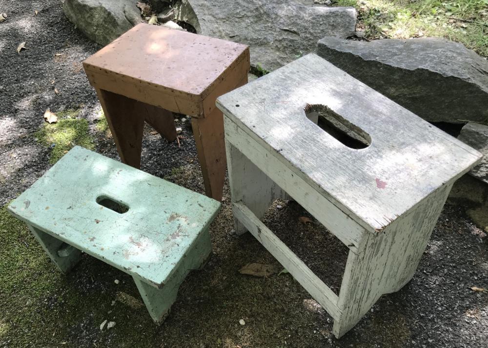 Three Antique Painted Wood Handmade Stools